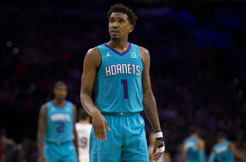 PHILADELPHIA, PA - NOVEMBER 10: Malik Monk #1 of the Charlotte Hornets looks on against the Philadelphia 76ers at the Wells Fargo Center on November 10, 2019 in Philadelphia, Pennsylvania. The 76ers defeated the Hornets 114-106. NOTE TO USER: User expressly acknowledges and agrees that, by downloading and/or using this photograph, user is consenting to the terms and conditions of the Getty Images License Agreement. (Photo by Mitchell Leff/Getty Images)