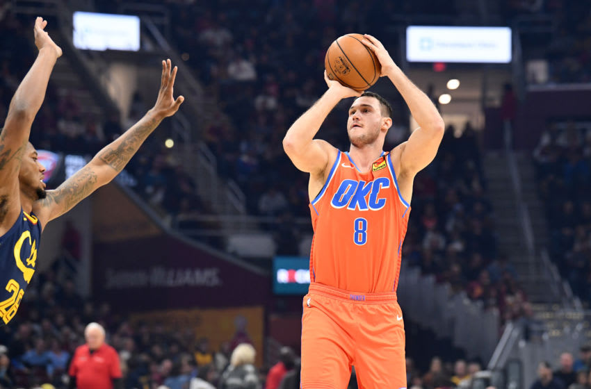CLEVELAND, OHIO - JANUARY 04: Danilo Gallinari #8 of the Oklahoma City Thunder shoots over Alfonzo McKinnie #28 of the Cleveland Cavaliers during the first half at Rocket Mortgage Fieldhouse on January 04, 2020 in Cleveland, Ohio. NOTE TO USER: User expressly acknowledges and agrees that, by downloading and/or using this photograph, user is consenting to the terms and conditions of the Getty Images License Agreement. (Photo by Jason Miller/Getty Images)