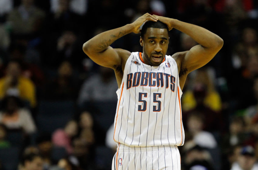CHARLOTTE, NC - FEBRUARY 10: Reggie Williams #55 of the Charlotte Bobcats reacts to a call against the Chicago Bulls during their game at Time Warner Cable Arena on February 10, 2012 in Charlotte, North Carolina. NOTE TO USER: User expressly acknowledges and agrees that, by downloading and or using this photograph, User is consenting to the terms and conditions of the Getty Images License Agreement. (Photo by Streeter Lecka/Getty Images)