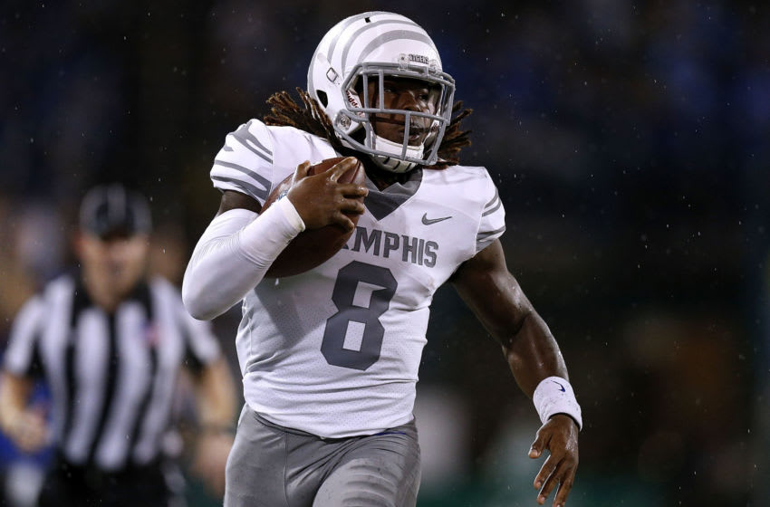 NEW ORLEANS, LA - SEPTEMBER 28: Darrell Henderson #8 of the Memphis Tigers runs with the ball for a touchdown during the first half against the Tulane Green Wave at Yulman Stadium on September 28, 2018 in New Orleans, Louisiana. (Photo by Jonathan Bachman/Getty Images)