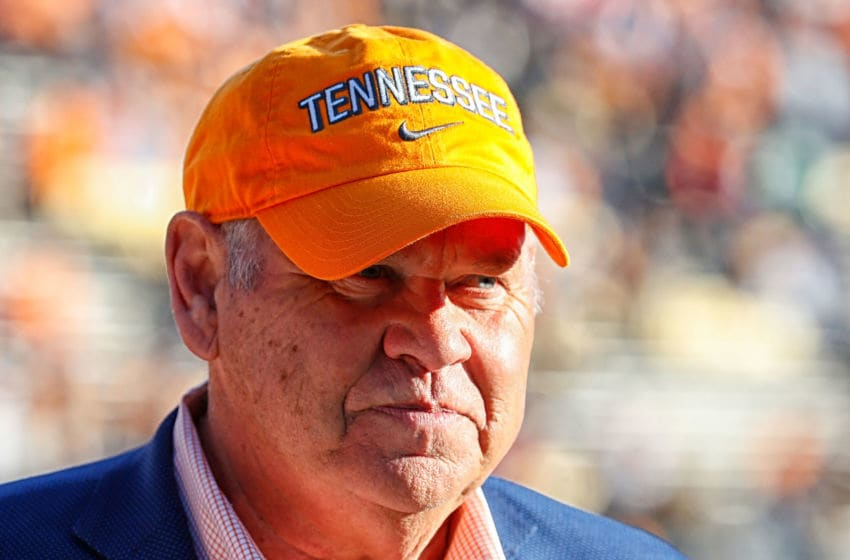 NASHVILLE, TN - NOVEMBER 24: Former head coach Phillip Fulmer of the Tennessee Volunteers walks the sideline prior to a 38-13 Vanderbilt victory over the University of Tennessee at Vanderbilt Stadium on November 24, 2018 in Nashville, Tennessee. (Photo by Frederick Breedon/Getty Images)