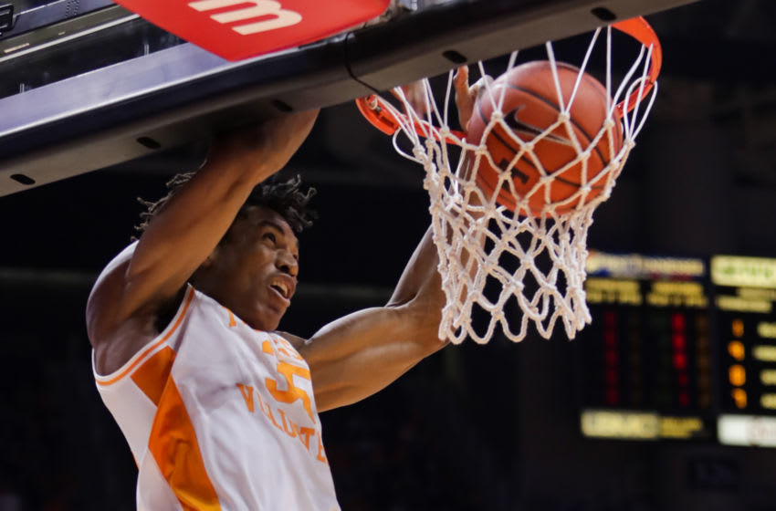 KNOXVILLE, TN - FEBRUARY 5: Yves Pons #35 of the Tennessee Volunteers dunks the ball during the game between the Missouri Tigers and the Tennessee Volunteers at Thompson-Boling Arena on February 5, 2019 in Knoxville, Tennessee. (Photo by Donald Page/Getty Images)