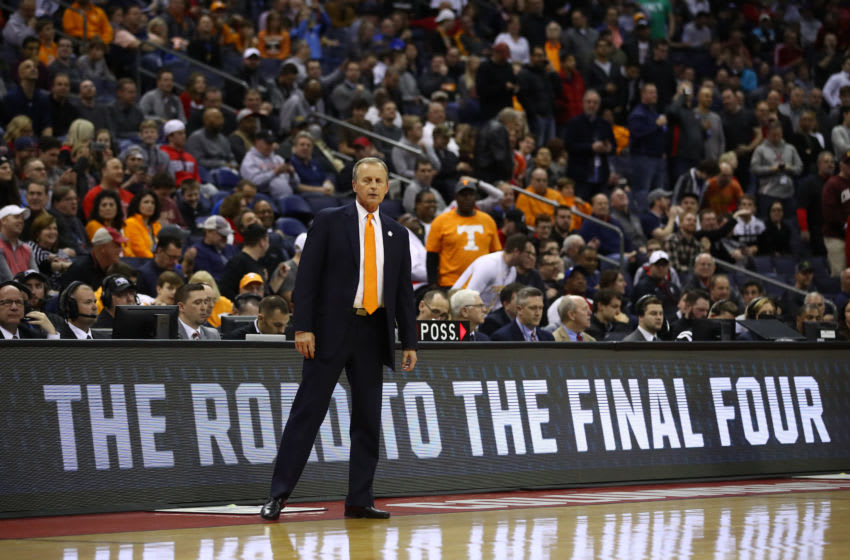 COLUMBUS, OHIO - MARCH 22: Head coach Rick Barnes of the Tennessee Volunteers looks on during the second half against the Colgate Raiders in the first round of the 2019 NCAA Men's Basketball Tournament at Nationwide Arena on March 22, 2019 in Columbus, Ohio. (Photo by Gregory Shamus/Getty Images)