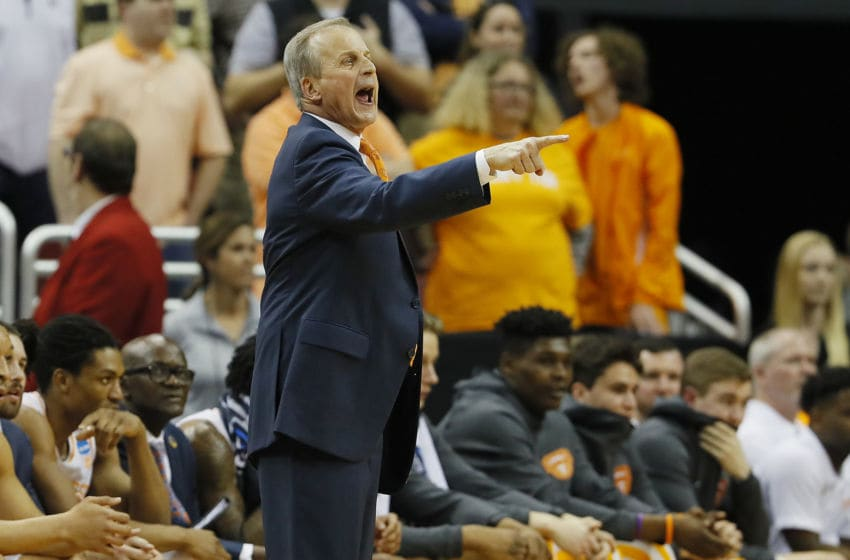 LOUISVILLE, KENTUCKY - MARCH 28: Head coach Rick Barnes of the Tennessee Volunteers reacts against the Purdue Boilermakers during overtime of the 2019 NCAA Men's Basketball Tournament South Regional at the KFC YUM! Center on March 28, 2019 in Louisville, Kentucky. (Photo by Kevin C. Cox/Getty Images)