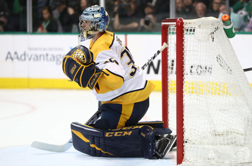 DALLAS, TEXAS - APRIL 22: Pekka Rinne #35 of the Nashville Predators in the third period of Game Six of the Western Conference First Round during the 2019 Stanley Cup Playoffs at American Airlines Center on April 22, 2019 in Dallas, Texas. (Photo by Ronald Martinez/Getty Images)