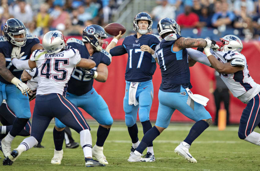 NASHVILLE, TN - AUGUST 17: Ryan Tannehill #17 of the Tennessee Titans throws a pass during a week two preseason game against the New England Patriots at Nissan Stadium on August 17, 2019 in Nashville, Tennessee. (Photo by Wesley Hitt/Getty Images)