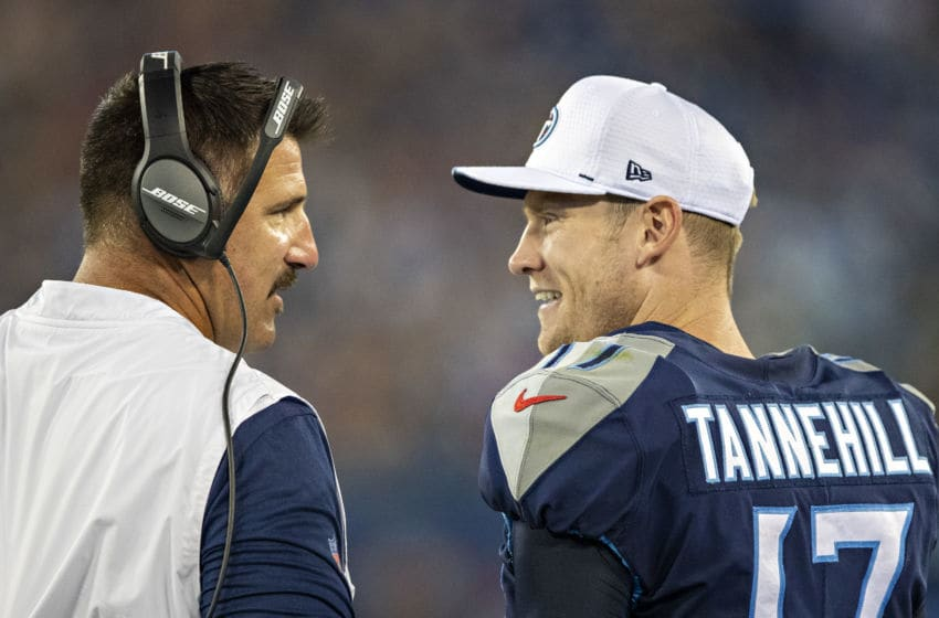 NASHVILLE, TN - AUGUST 17: Head Coach Mike Vrabel talks with Ryan Tannehill #17 of the Tennessee Titans on the sidelines during week two of the preseason at Nissan Stadium on August 17, 2019 in Nashville, Tennessee. The Patriots defeated the Titans 22-17. (Photo by Wesley Hitt/Getty Images)