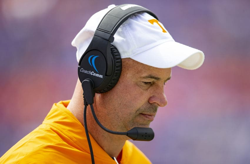 GAINESVILLE, FL- SEPTEMBER 21: Head coach Jeremy Pruitt of the Tennessee Volunteers looks on during the first half of the game against the Florida Gators at Ben Hill Griffin Stadium on September 21, 2019 in Gainesville, Florida. (Photo by Carmen Mandato/Getty Images)