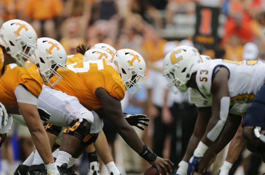 KNOXVILLE, TENNESSEE - SEPTEMBER 14: The Tennessee Volunteers offensive line faces the Chattanooga Mockingbirds during the second quarter at Neyland Stadium on September 14, 2019 in Knoxville, Tennessee. (Photo by Silas Walker/Getty Images)