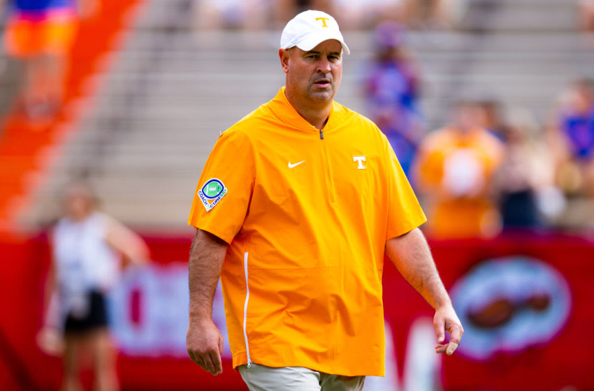 GAINESVILLE, FL- SEPTEMBER 21: Head coach Jeremy Pruitt of the Tennessee Volunteers looks on prior to the start of the game against the Florida Gators at Ben Hill Griffin Stadium on September 21, 2019 in Gainesville, Florida. (Photo by Carmen Mandato/Getty Images)