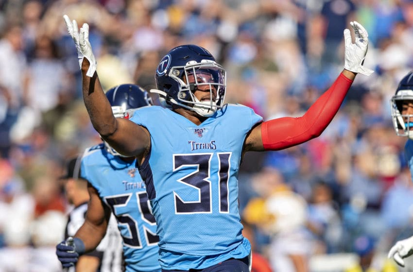 NASHVILLE, TN - OCTOBER 20: Kevin Byard #31 of the Tennessee Titans gets the crowd cheering during a game against the Los Angeles Chargers at Nissan Stadium on October 20, 2019 in Nashville, Tennessee. The Titans defeated the Chargers 23-20. (Photo by Wesley Hitt/Getty Images)