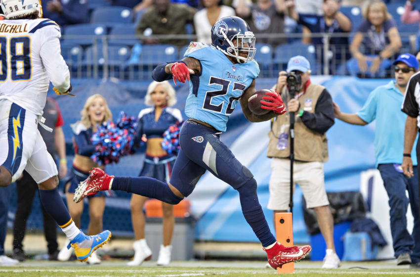 NASHVILLE, TN - OCTOBER 20: Derrick Henry #22 of the Tennessee Titans rushes for a touchdown during a game against the Los Angeles Chargers at Nissan Stadium on October 20, 2019 in Nashville, Tennessee. The Titans defeated the Chargers 23-20. (Photo by Wesley Hitt/Getty Images)