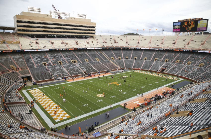 KNOXVILLE, TENNESSEE - OCTOBER 26: Fans take their seats before the Tennessee Volunteers play against the South Carolina Gamecocks at Neyland Stadium on October 26, 2019 in Knoxville, Tennessee. (Photo by Silas Walker/Getty Images)