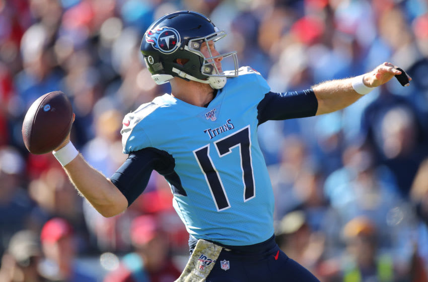 NASHVILLE, TENNESSEE - NOVEMBER 10: Quarterback Ryan Tannehill #17 of the Tennessee Titans passes against the Kansas City Chiefs in the second quarter at Nissan Stadium on November 10, 2019 in Nashville, Tennessee. (Photo by Brett Carlsen/Getty Images)