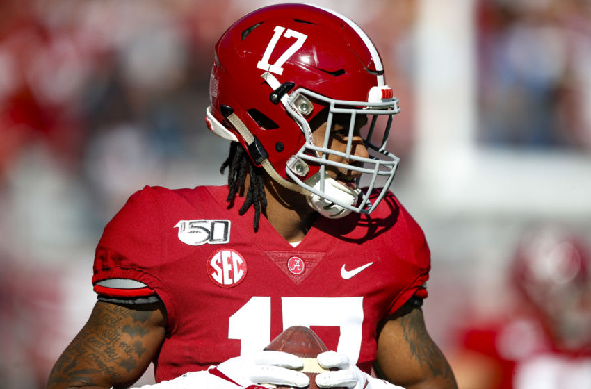 TUSCALOOSA, AL - NOVEMBER 09: Jaylen Waddle #17 of the Alabama Crimson Tide warms up prior to the game against the LSU Tigers at Bryant-Denny Stadium on November 9, 2019 in Tuscaloosa, Alabama. (Photo by Todd Kirkland/Getty Images)
