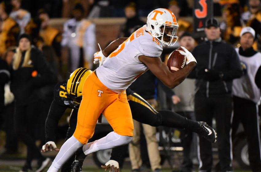 COLUMBIA, MISSOURI - NOVEMBER 23: Wide receiver Jauan Jennings #15 of the Tennessee Volunteers goes in for a touchdown against defensive lineman Kobie Whiteside #78 of the Missouri Tigers in the second quarter at Faurot Field/Memorial Stadium on November 23, 2019 in Columbia, Missouri. (Photo by Ed Zurga/Getty Images)