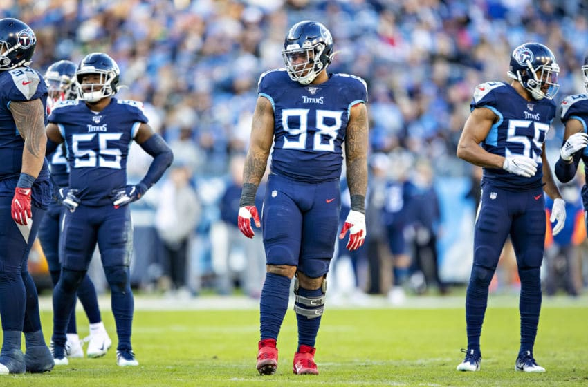 NASHVILLE, TN - NOVEMBER 24: Jeffery Simmons #98 of the Tennessee Titans lines up for the next play during the first half of a game against the Jacksonville Jaguars at Nissan Stadium on November 24, 2019 in Nashville, Tennessee. The Titans defeated the Jaguars 42-20. (Photo by Wesley Hitt/Getty Images)