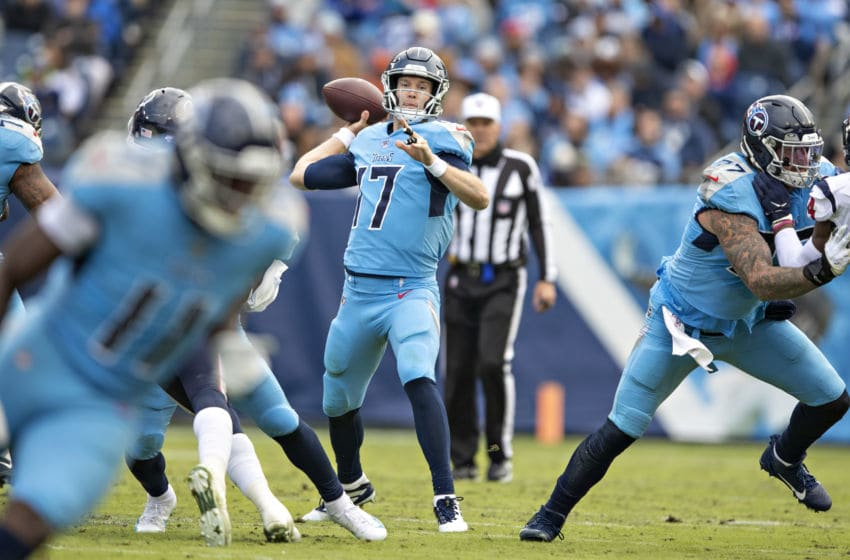 NASHVILLE, TN - DECEMBER 15: Ryan Tannehill #17 of the Tennessee Titans throws a pass during a game against the Houston Texans at Nissan Stadium on December 15, 2019 in Nashville, Tennessee. The Texans defeated the Titans 24-21. (Photo by Wesley Hitt/Getty Images)