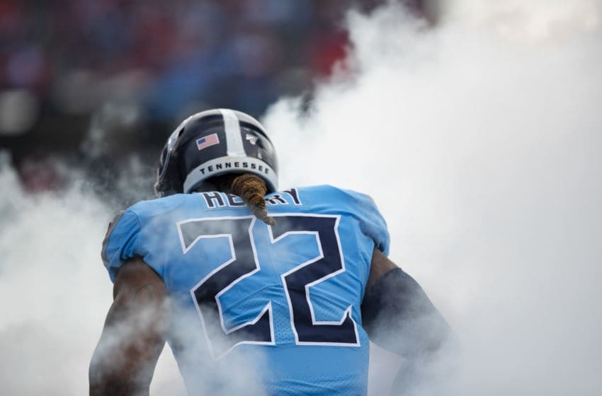 NASHVILLE, TN - DECEMBER 15: Detail view of rear nameplate on the jersey of Derrick Henry #22 of the Tennessee Titans as he is announced before the game against the Houston Texans at Nissan Stadium on December 15, 2019 in Nashville, Tennessee. Houston defeats Tennessee 24-21. (Photo by Brett Carlsen/Getty Images)
