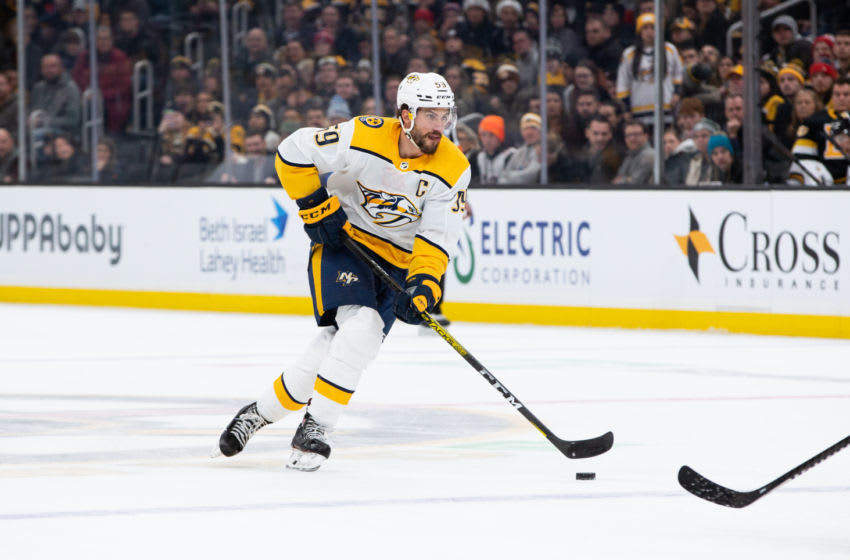 BOSTON, MA - DECEMBER 21: Roman Josi #59 of the Nashville Predators skates against the Boston Bruins at TD Garden on December 21, 2019 in Boston, Massachusetts. The Predators won 4-3 in overtime. (Photo by Rich Gagnon/Getty Images)