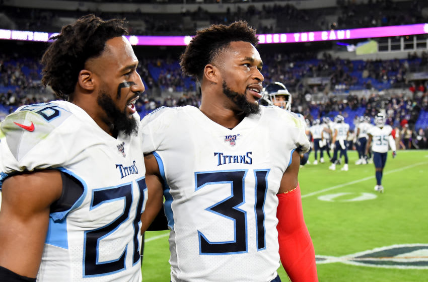 BALTIMORE, MARYLAND - JANUARY 11: Logan Ryan #26 and Kevin Byard #31 of the Tennessee Titans look on during the AFC Divisional Playoff game against the Baltimore Ravens at M&T Bank Stadium on January 11, 2020 in Baltimore, Maryland. (Photo by Will Newton/Getty Images)
