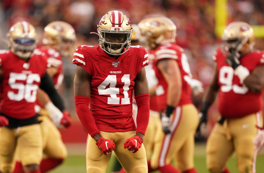 SANTA CLARA, CALIFORNIA - JANUARY 19: Emmanuel Moseley #41 of the San Francisco 49ers reacts to a play in the first half against the Green Bay Packers during the NFC Championship game at Levi's Stadium on January 19, 2020 in Santa Clara, California. (Photo by Thearon W. Henderson/Getty Images)