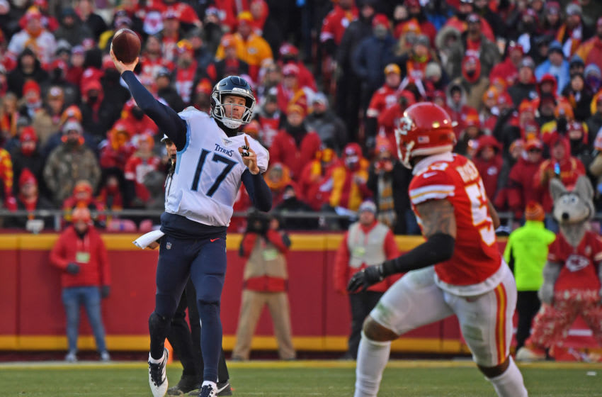 KANSAS CITY, MO - JANUARY 19: Quarterback Ryan Tannehill #17 of the Tennessee Titans throws a pass down field in the first half against the Kansas City Chiefs in the AFC Championship Game at Arrowhead Stadium on January 19, 2020 in Kansas City, Missouri. (Photo by Peter G. Aiken/Getty Images)