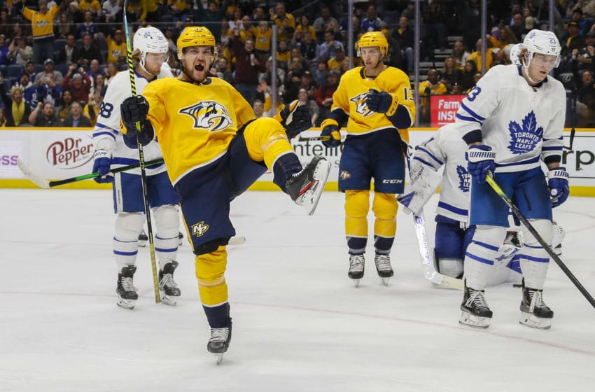 NASHVILLE, TENNESSEE - JANUARY 27: Viktor Arvidsson #33 of the Nashville Predators celebrates a goal against the Toronto Maple Leafs during the third period of a 5-2 Leaf victory at Bridgestone Arena on January 27, 2020 in Nashville, Tennessee. (Photo by Frederick Breedon/Getty Images)