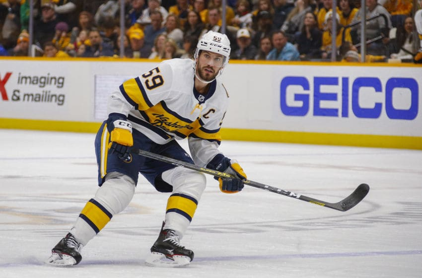 NASHVILLE, TENNESSEE - FEBRUARY 16: Roman Josi #59 of the Nashville Predators skates against the St. Louis Blues during the third period of a 2-1 Predators victory at Bridgestone Arena on February 16, 2020 in Nashville, Tennessee. (Photo by Frederick Breedon/Getty Images)