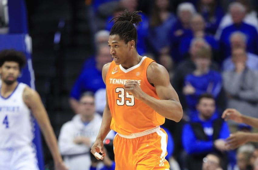LEXINGTON, KENTUCKY - MARCH 03: Yves Pons #35 of the Tennessee Volunteers celebrates during the 81-73 win against the Kentucky Wildcats at Rupp Arena on March 03, 2020 in Lexington, Kentucky. (Photo by Andy Lyons/Getty Images)