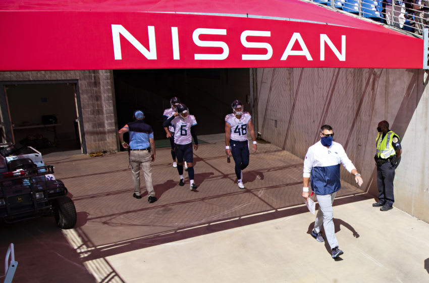 NASHVILLE, TN - SEPTEMBER 20: Head Coach Mike Vrabel of the Tennessee Titans walks on the field before a game against the Jacksonville Jaguars at Nissan Stadium on September 20, 2020 in Nashville, Tennessee. The Titans defeated the Jaguars 33-30. (Photo by Wesley Hitt/Getty Images)