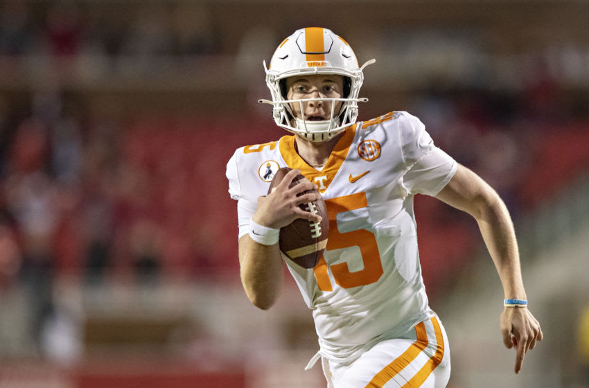 FAYETTEVILLE, AR - NOVEMBER 7: Harrison Bailey #15 of the Tennessee Volunteers runs the ball during a game against the Arkansas Razorbacks at Razorback Stadium on November 7, 2020 in Fayetteville, Arkansas. The Razorbacks defeated the Volunteers 24-13. (Photo by Wesley Hitt/Getty Images)