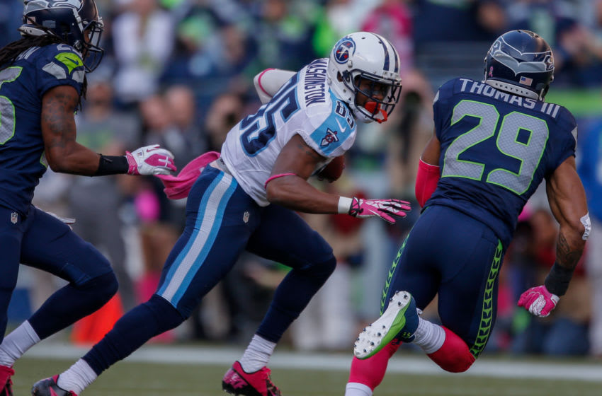 SEATTLE, WA - OCTOBER 13: Wide receiver Nate Washington #85 of the Tennessee Titans rushes against free safety Earl Thomas #29 of the Seattle Seahawks at CenturyLink Field on October 13, 2013 in Seattle, Washington. (Photo by Otto Greule Jr/Getty Images)