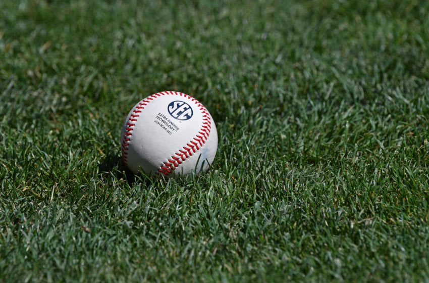 Omaha, NE - JUNE 27: A general view of a baseball on the field prior to game two of the College World Series Championship Series between the Oregon State Beavers and the Arkansas Razorbacks on June 27, 2018 at TD Ameritrade Park in Omaha, Nebraska. (Photo by Peter Aiken/Getty Images)
