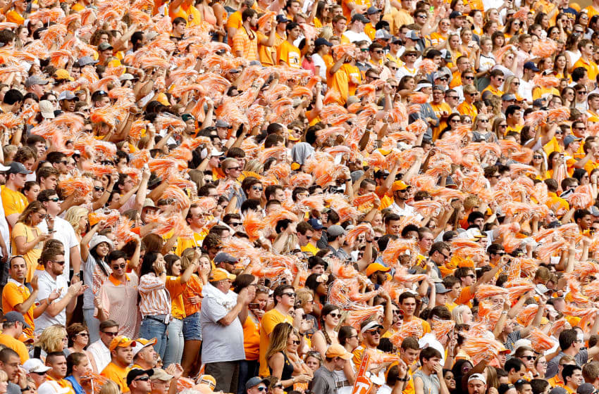 KNOXVILLE, TN - SEPTEMBER 09: Tennessee Volunteers fans cheer during the first half of the game against the Indiana State Sycamores at Neyland Stadium on September 9, 2017 in Knoxville, Tennessee. (Photo by Michael Reaves/Getty Images)