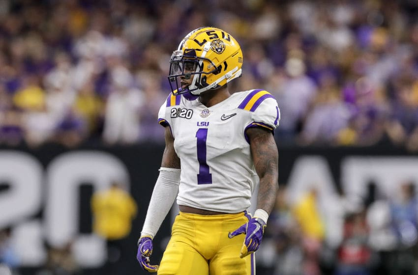 NEW ORLEANS, LA - JANUARY 13: Cornerback Kristian Fulton #1 of the LSU Tigers during the College Football Playoff National Championship game against the Clemson Tigers at the Mercedes-Benz Superdome on January 13, 2020 in New Orleans, Louisiana. LSU defeated Clemson 42 to 25. (Photo by Don Juan Moore/Getty Images)