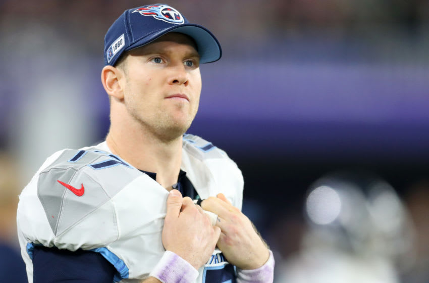 BALTIMORE, MARYLAND - JANUARY 11: Ryan Tannehill #17 of the Tennessee Titans looks on during the AFC Divisional Playoff game against the Baltimore Ravens at M&T Bank Stadium on January 11, 2020 in Baltimore, Maryland. (Photo by Maddie Meyer/Getty Images)