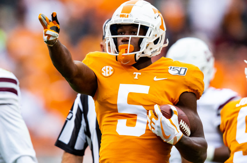 KNOXVILLE, TN - OCTOBER 12: Josh Palmer #5 of the Tennessee Volunteers gestures during a game against the Mississippi State Bulldogs at Neyland Stadium on October 12, 2019 in Knoxville, Tennessee. (Photo by Carmen Mandato/Getty Images)