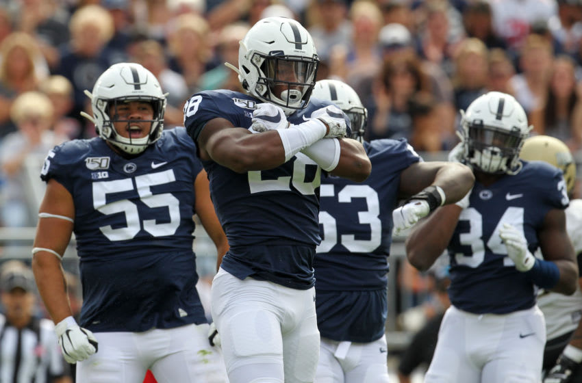Aug 31, 2019; University Park, PA, USA; Penn State Nittany Lions defensive end Jayson Oweh (28) reacts following a sack during the first quarter against the Idaho Vandals at Beaver Stadium. Mandatory Credit: Matthew O'Haren-USA TODAY Sports