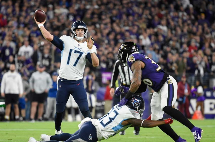Tennessee Titans quarterback Ryan Tannehill (17) passes during the second quarter of a NFL Divisional Playoff game against the Baltimore Ravens at M&T Bank Stadium Saturday, Jan. 11, 2020 in Baltimore, Md. Gw42394