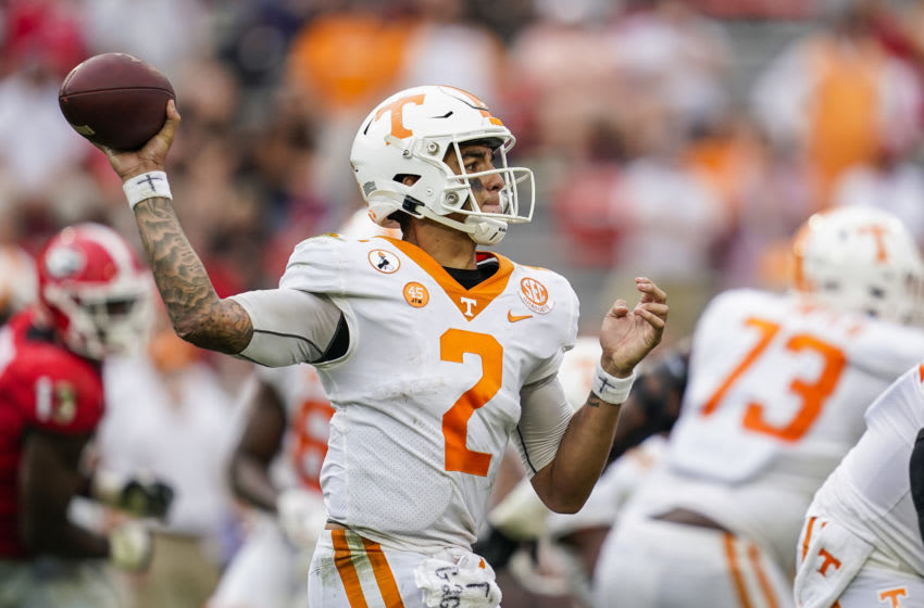 Oct 10, 2020; Athens, Georgia, USA; Tennessee Volunteers quarterback Jarrett Guarantano (2) passes against the Georgia Bulldogs during the second half at Sanford Stadium. Mandatory Credit: Dale Zanine-USA TODAY Sports