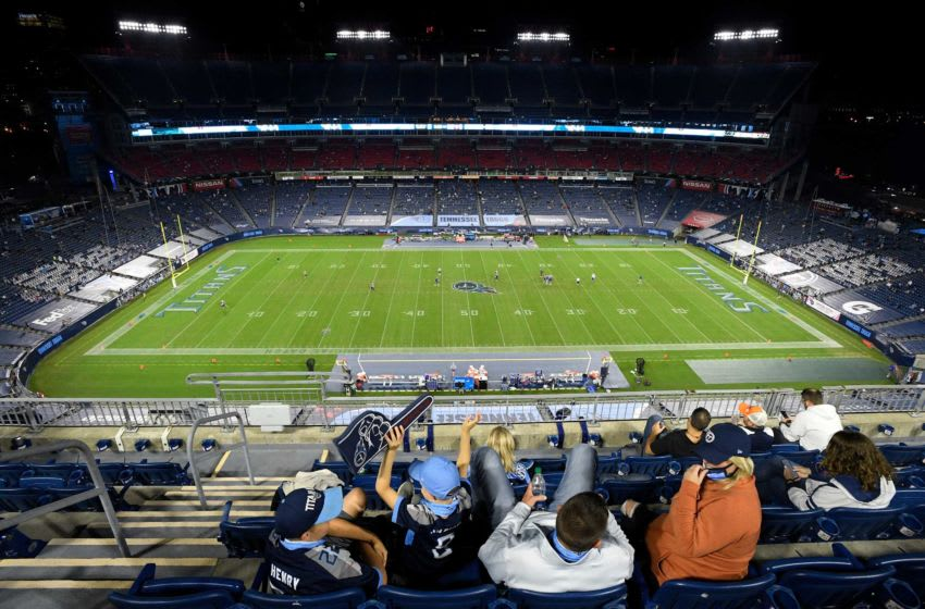 Fans in their seats at Nissan Stadium during halftime of the Tennessee Titans-Buffalo Bills game Tuesday, Oct. 13, 2020 in Nashville, Tenn. An58397