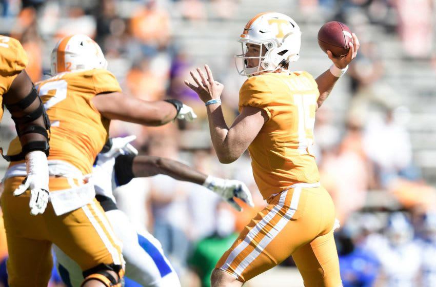 Tennessee quarterback Harrison Bailey (15) throws the ball during the second half of a game between Tennessee and Kentucky at Neyland Stadium in Knoxville, Tenn. on Saturday, Oct. 17, 2020.