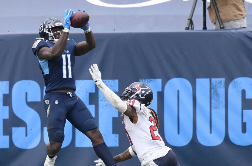 Tennessee Titans wide receiver A.J. Brown (11) scores a touchdown late in the fourth quarter at Nissan Stadium Sunday, Oct. 18, 2020 in Nashville, Tenn. An54625