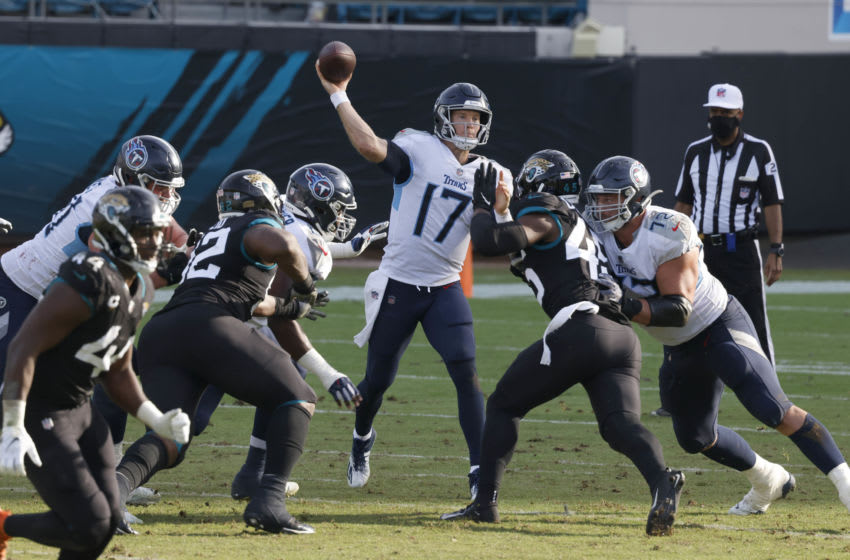 Dec 13, 2020; Jacksonville, Florida, USA; Tennessee Titans quarterback Ryan Tannehill (17) throws a pass during the second half against the Jacksonville Jaguars at TIAA Bank Field. Mandatory Credit: Reinhold Matay-USA TODAY Sports
