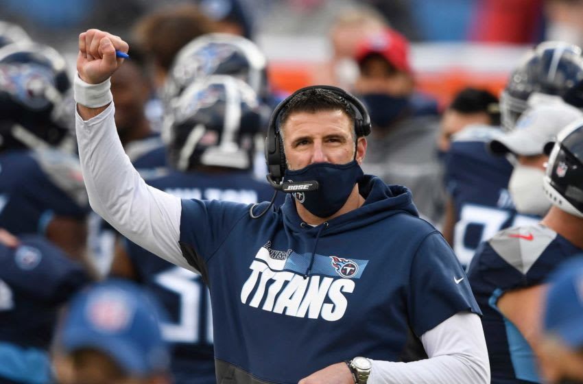 Tennessee Titans head coach Mike Vrabel holds up his fist on the sideline during the third quarter against the Detroit Lions at Nissan Stadium Sunday, Dec. 20, 2020 in Nashville, Tenn. Gw59215