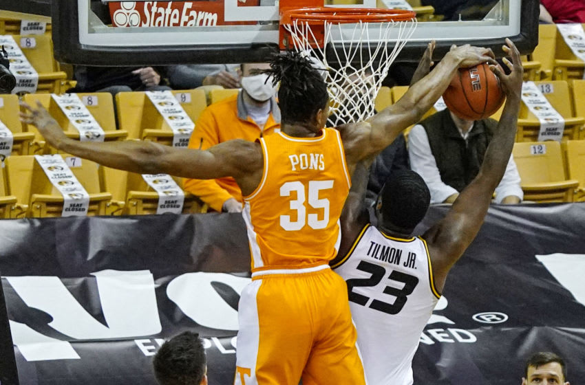 Dec 30, 2020; Columbia, Missouri, USA; Tennessee Volunteers guard Yves Pons (35) blocks a shot by Missouri Tigers forward Jeremiah Tilmon (23) during the first half at Mizzou Arena. Mandatory Credit: Jay Biggerstaff-USA TODAY Sports