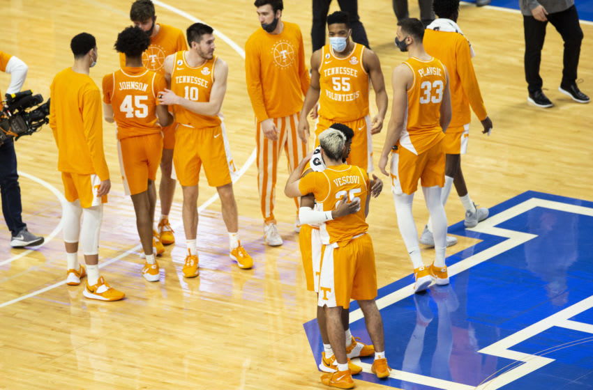 Feb 6, 2021; Lexington, Kentucky, USA; Tennessee Volunteers players celebrate after defeating the Kentucky Wildcats at Rupp Arena at Central Bank Center. Mandatory Credit: Arden Barnes-USA TODAY Sports
