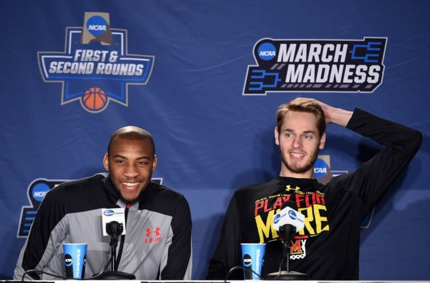 Mar 17, 2016; Spokane, WA, USA; Maryland Terrapins guard Rasheed Sulaimon (0) and forward Jake Layman (10) speak to media during a practice day before the first round of the NCAA men