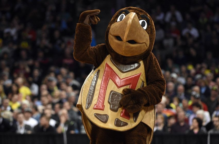 March 20, 2016; Spokane , WA, USA; Maryland Terrapins mascot on court during a stoppage in play during the first half in the second round of the 2016 NCAA Tournament at Spokane Veterans Memorial Arena. Mandatory Credit: Kyle Terada-USA TODAY Sports